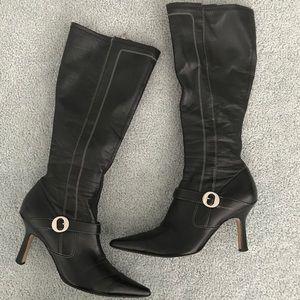 Anne Klein Pointy-Toe Heel Black Boots
